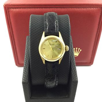 Vintage Rolex Oyster Perpetual 18K Yellow Gold Black Leather Watch 100134