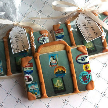 Vintage suitcase cookie favor - Wedding favor, Bridal shower, Bon Voyage