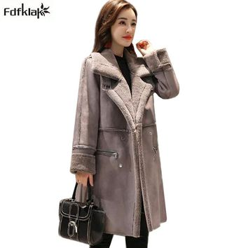 Fdfklak Women's Winter Coat Thick Warm Cashmere Woolen Coat Female Turn-down Collar Long Winter Jacket Women Wool Jackets