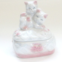 Vintage iridescent glass pink and white kittens jewelry box antique retro heart shaped kitten box