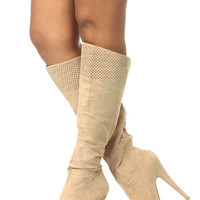 Taupe Faux Suede Knee High Laser Cut Platform Boots