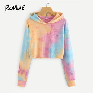 ROMWE Drawstring Drop Shoulder Tie Dye Crop Hoodie