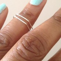 Set of 2 Square Geo Silver Midi Rings Above Knuckle Rings from azteclovers