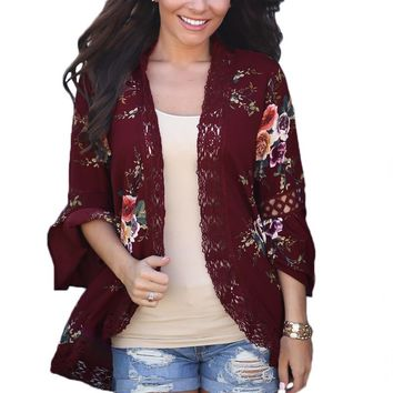 Chicloth Red Bell Sleeve Floral Kimono with Lace Detail