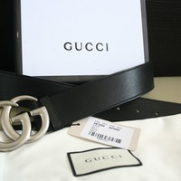Cool Style! Gucci Men's Leather Silver GG Buckle Belt Size 100cm fit 35-36