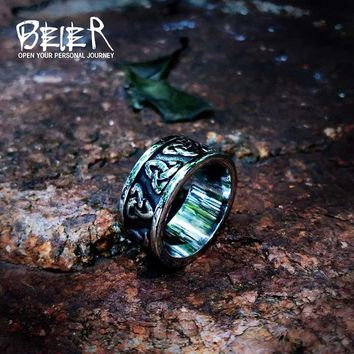 Beier Viking Jewelry Stainless Steel nose viking Amulet Simple and stylish  Odin scandinavian  Men Women Ring  Jewelry LR513