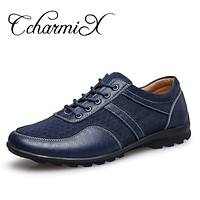 Leather Men Formal Shoe Lace Up Dress Men's Oxfords Business Shoes Summer Breathable Walking Man