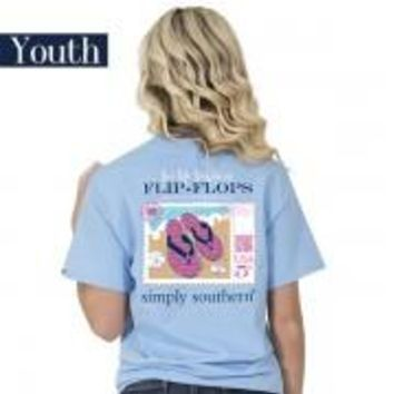 """Youth Simply Southern """"Preppy Flip Flop"""" Short Sleeve Tee"""