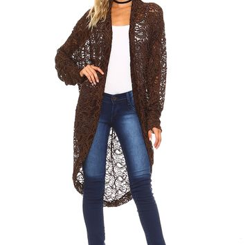 Brown Chenille Lace Cardigan - Plus