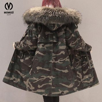 Camouflage Print Faux Fur Collar Puffy Coat