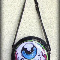 Eye Am Watching! Bag Collection (Green Edge) - Round Vegan Zip Bag- Horror, Zombie, Monster, Eyeball, Punk- Custom Printed- One of a kind!