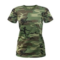Rothco Women's Longer T-Shirt, Woodland Camo, Medium