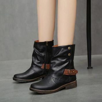 Vintage Style Soft PU Boots Round Toe