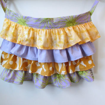 Fabulous Frilly Half Apron with Lots of Ruffles Lavender and Orange