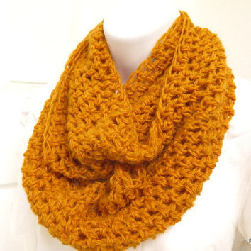 Soft Angora Cowl. Gold hand crochet neck warmer, warm angora infinity scarf, gift under 40