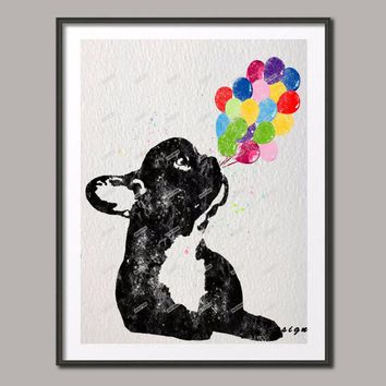 Original Watercolor French Bulldog with Balloon Frenchi wall art poster print Picture canvas painting home decoration sticker
