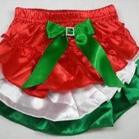 Christmas Diaper Cover, Red Green and White Ruffled Satin Baby Bloomers with Rhinestone Embellishment on Bow, Ruffled Diaper Cover