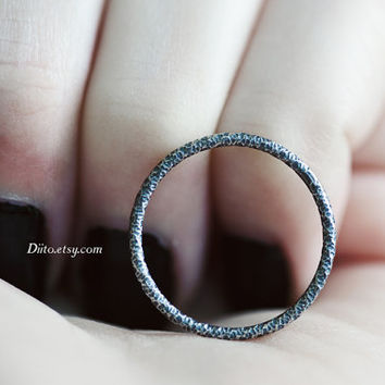 Size 6, Oxidized Sterling Silver Crinkle Ring, Handmade Jewelry, Stacking Ring, Simple Rings, Thin Ring, Minimalist Ring, Ready To Ship!