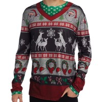 Faux Real Men's Ugly Frisky Deer Sweater, Multi, Small
