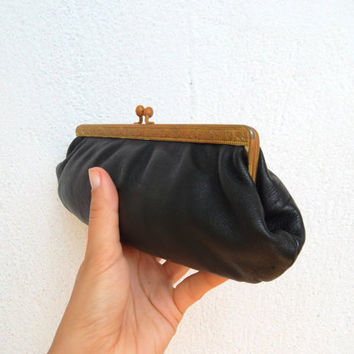 Victorian Clutch Bag with Enameled Gold Metal Frame, Edwardian Handbag, 40s Black Clutch Wallet, Vintage Money Purse, Small Retro Pouch