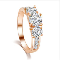 Rose Gold/Platinum Plated Crystal Engagement Ring New Hot Fashion Elegant High Quality Jewelry 2 Colors