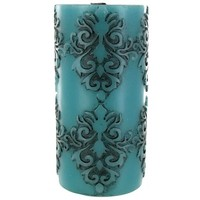 "3"" x 6"" Damask Embossed Teal Pillar Candle 