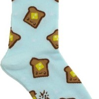 Sock It To Me Toast Light Blue Women's Crew Socks, One Size