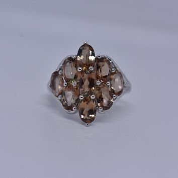 Vintage Brown color change Alexandrite 925 Sterling Silver Rhodium Finish Ring