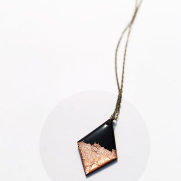 copper necklace fall jewelry vinyl record jewelry autumn black and copper geometric pendant necklace rusty jewellery minimalist necklace