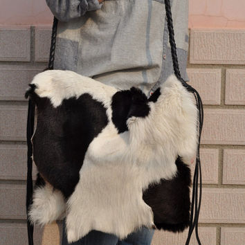 Black and White Hair-On Cowhide Purse/Tote handmade Leather story bag