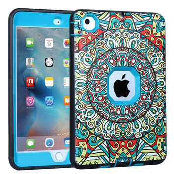 For iPad Mini,Mini 2,Mini 3 Case,Pattern Anti-slip Shock-Absorption Silicone High Impact Resistant Hybrid Three Layer Armor