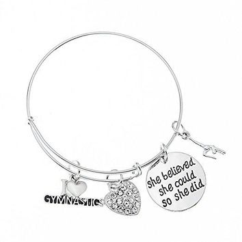 Gymnastics She Believed She Could So She Did Bangle Bracelet
