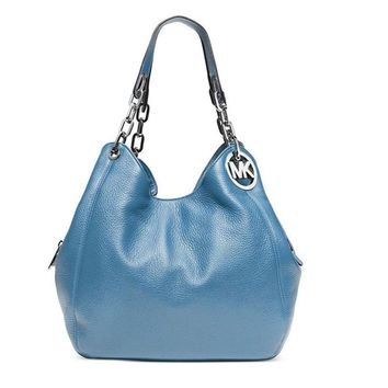 MICHAEL KORS Fulton Leather Large Tote Shoulder Handbag Sky