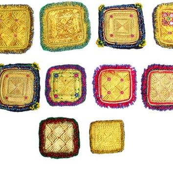 A Set of 10 Assorted Banjara Small Patches Tribal Beads Baby Patche Ethnic Medallions Vintage Gypsy Embellishment Patches Tribal Hippie Boho