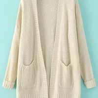 Off White Dual Front Pockets Loose Fitting Cardigan