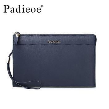 Split Cow Leather Men Envelope Bag Fashion Men's Card Holder Clutches Wallet with Wrist Strap Designer Phone Bag
