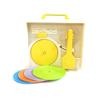 Record Player Toy Vintage Fisher Price Sesame Street Wind-Up Music Box with Plastic Records