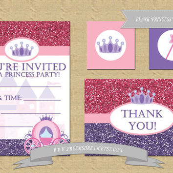 Blank Princess Invitation, Thank You Card, Cupcake Toppers/Favor Tags - Birthday Party Package (Printable)
