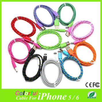 1M USB data cables Fabric Braided Sync Cable Charger Cord For iphone6 6plus Sync charging cable for iPhone 5 5s 5c fit for IOS8