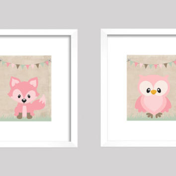 Pink Fox and Owl on Vintage Beige Banner, CUSTOMIZE YOUR COLORS, 8x10 Prints, set of 2, nursery decor nursery print art baby room decor
