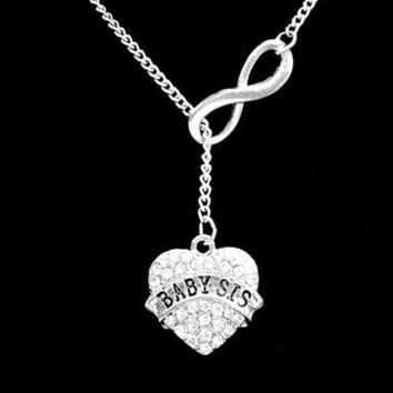 Infinity Crystal Baby Sis Heart Gift Little Sister Lariat Style Necklace