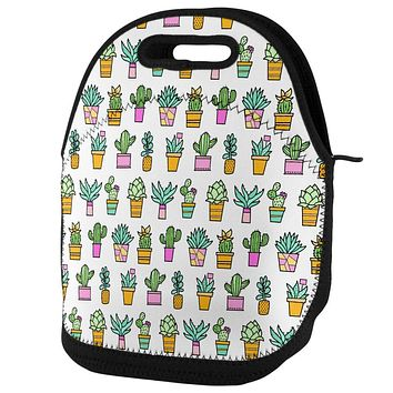 Cactus Doodle Color Mint Pink Repeat Pattern Lunch Tote Bag