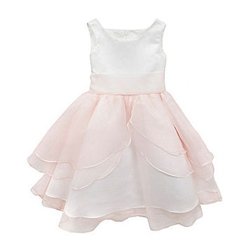 Chantilly Place 7-16 Organza-Overlay Satin Dress - Blush
