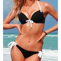 Black Blends Ladies Sexy Halter Beach New Style Bowknot Hot Girl Sexy Bikini S/M/L SY40468-49b $0.00 in eFexcity.