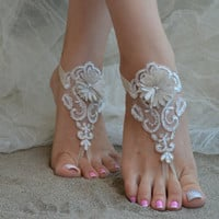 Free Ship Beach wedding barefoot sandals Beach shoes, bridal sandals, lace sandals, wedding bridal, ivory Champagne sandal, barefoot asndals