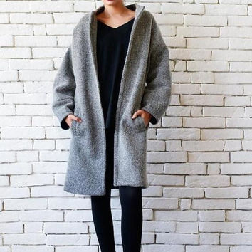 SALE Grey Wool Coat/Loose Elegant Winter Coat/Plus Size Jacket/Grey Warm Coat/Loose Long Jacket/Oversize Coat/Loose Long Warm Jacket with Po