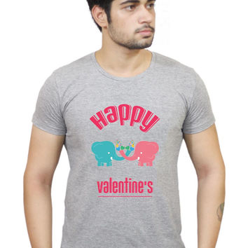 Happy Valentine,S Cute Two Elephants With Colorful Hearts  T-Shirt