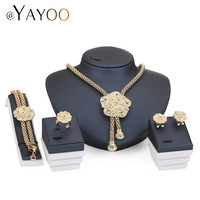Imitation Crystal Necklace Earrings Bracelet Rings Party Jewelry Sets For Women Pendant Statement African Beads Fine Accessories