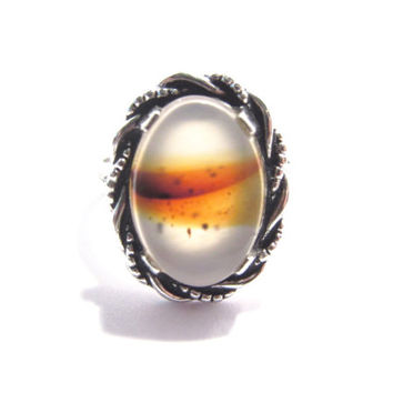Clark and Coombs Vintage Sterling Moss Agate Ring Size 6.5