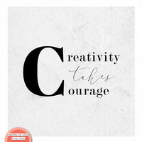 Creativity takes courage, Henri Matisse, inspirational quotes, black and white quote print, minimalist print, Scandinavian art, square art